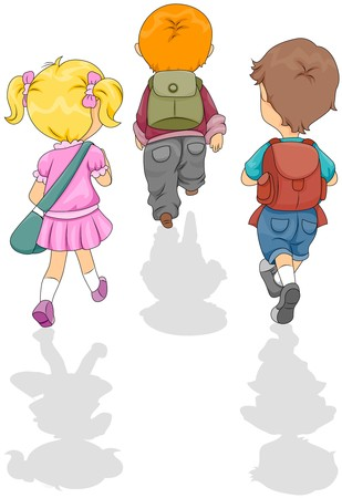school bags: Children walking to School