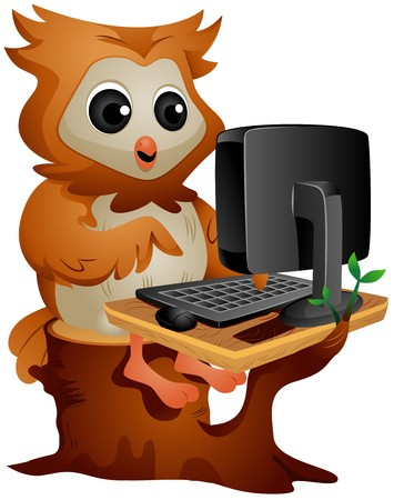 computer cartoon: Owl using the Computer