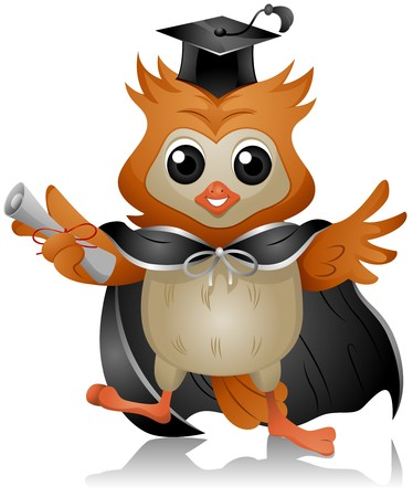 Graduate Owl holding Diploma   Stock Photo - 7701904