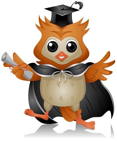 toga: Graduate Owl holding Diploma   Stock Photo