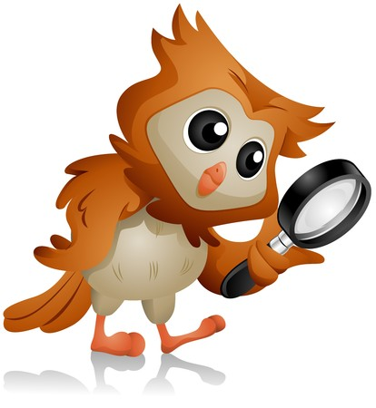 cute clipart: Owl using Magnifying Glass   Stock Photo