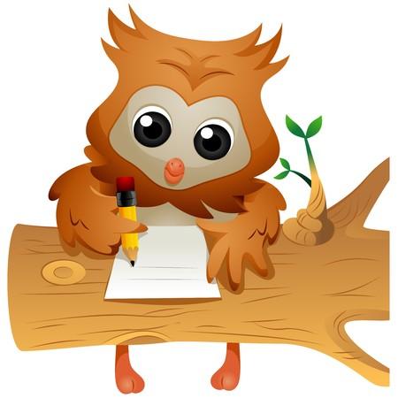 Owl writing Stock Photo - 7701908