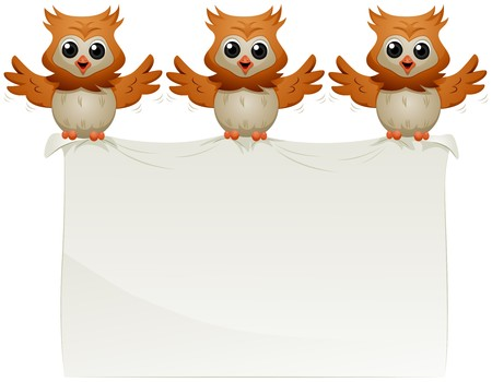 student cartoon: Owls carrying Announcement  Stock Photo