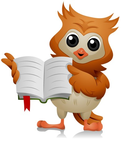 Owl Pointing at a Book Stock Photo - 7701828