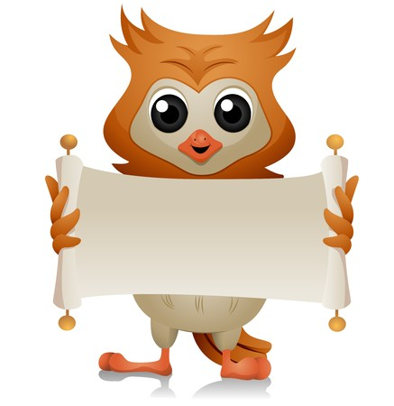 art owl: Owl with Open Scroll   Stock Photo