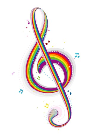 rainbow cartoon: Rainbow Colored G Clef  Stock Photo