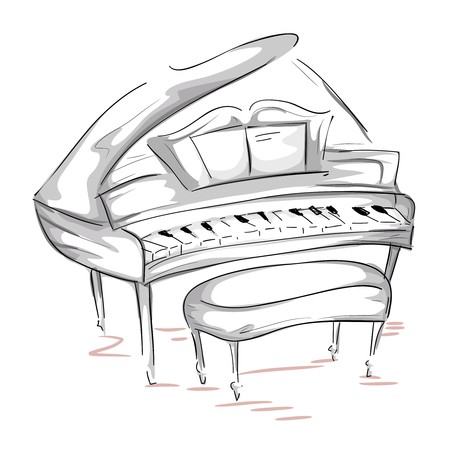 grand piano: Sketch of a Grand Piano   Stock Photo
