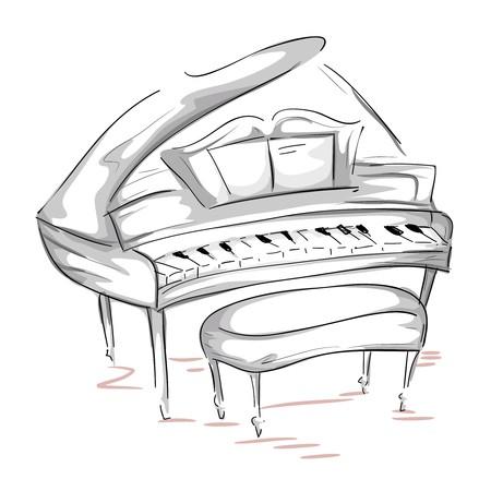 grand piano: Skizze des ein-Fl�gel   Lizenzfreie Bilder