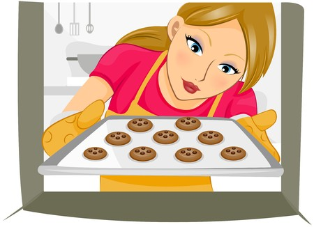 Girl baking Cookies  photo