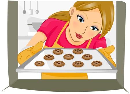 baking cookies: Ragazza cottura cookies