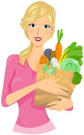 purchasing: Girl shopping for Vegetables