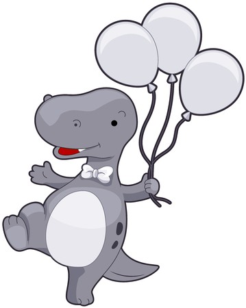 Cute TRex holding Balloons   photo