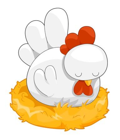 animal nest: Cute Hen on her Nest  Stock Photo