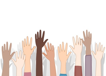 voluntary: Hands Up  Stock Photo