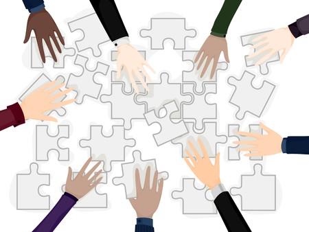 problemsolving: Business Hands on Puzzle Pieces