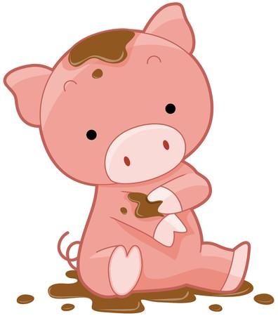 cerdo caricatura: Cute Pig  Foto de archivo