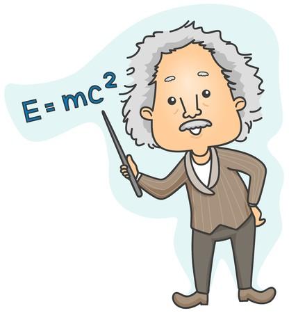 Albert Einstein pointing to Emc2