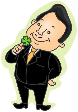 Businessman holding four leaf clover  photo