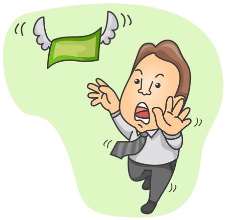 pursuing: Businessman chasing Money