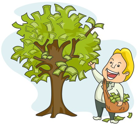 bag of money: Businessman plucking money from tree  Stock Photo