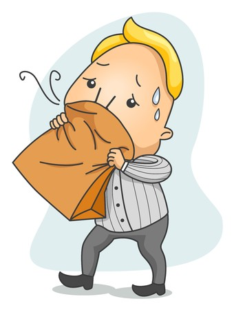 the breath: Man breathing in Paper Bag   Stock Photo