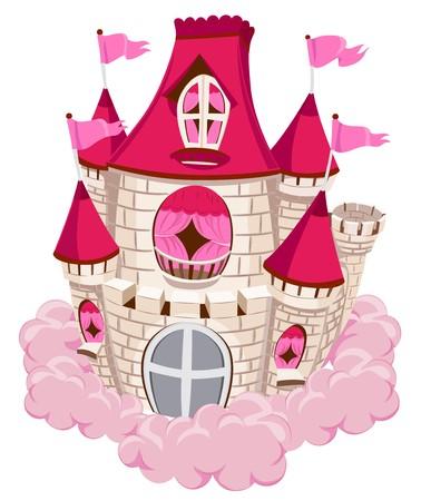 cloud clipart: Pink Castle on a Cloud