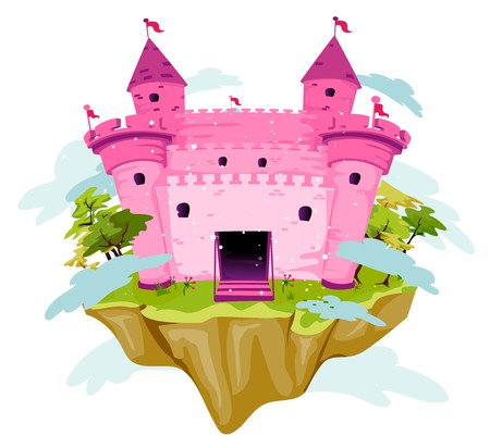 island clipart: Pink Castle on an Island