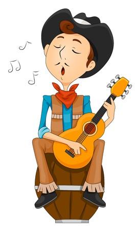 western theme: Cowboy Singing   Stock Photo