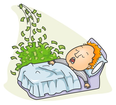 cartoon money: Businessman Making Money while Sleeping