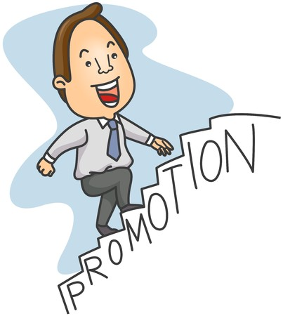 promoted: Businessman Climbing Promotion Stairs