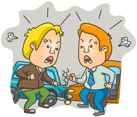 cartoon accident: Two Drivers arguing about the Accident Stock Photo