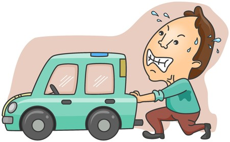empujando: Hombre Pushing Broken Car