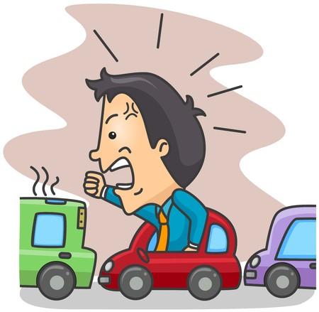 enojo: Hombre enojado en un tráfico Foto de archivo