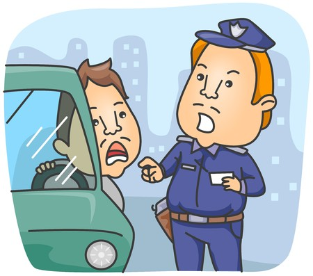 traffic violation: Policeman Talking to the Driver