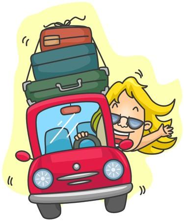Girl traveling in Car photo