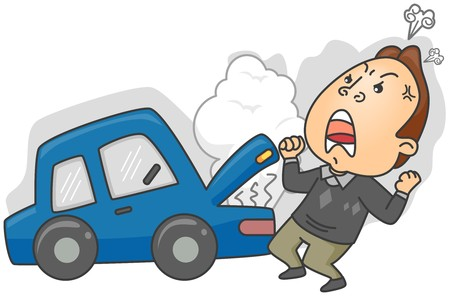 broken: Angry Man having Car Trouble   Stock Photo