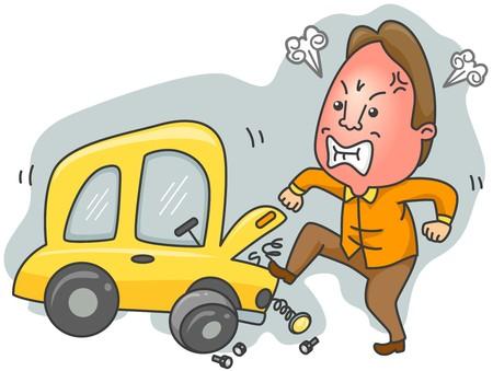 in trouble: Hombre con problemas de Car  Foto de archivo