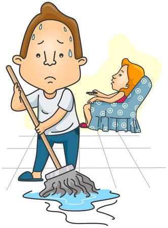 housework:  Man mopping Floor while Wife watches TV