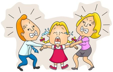 problemas familiares: Padres lucha sobre la tutela de ni�os  Foto de archivo