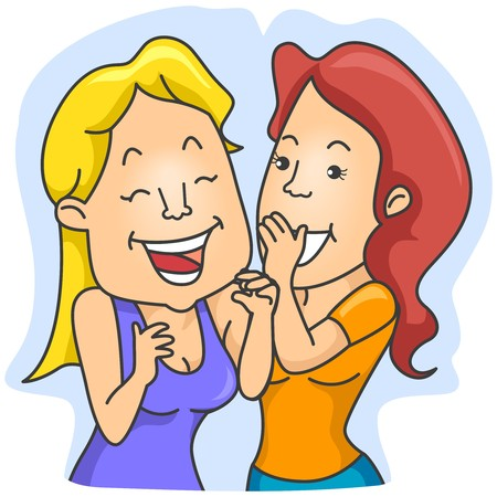 giggling: Woman whispering   Stock Photo