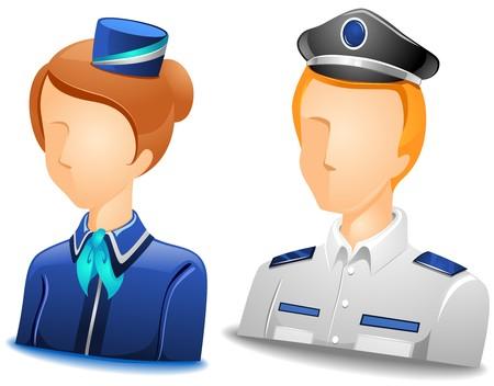 cabin attendant: Pilot  Stewardess Avatars   Stock Photo