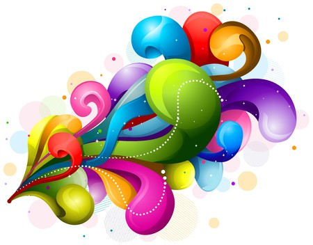 arts abstract: Abstract Rainbow-Colored Swirls Design Against White Background