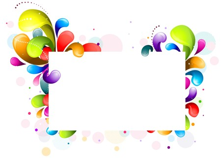 colorful design: Abstract Rainbow-Colored Swirls Frame Against White Background