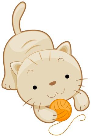 gato jugando: Un gato Chubby Cute jugando con una pelota de yarn  Foto de archivo