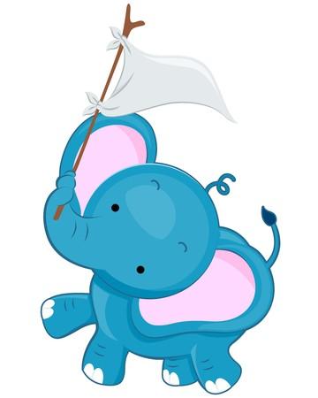 tusk: A Cute Elephant Waving a White Flag With His Tusk