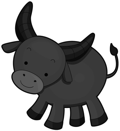 A Water Buffalo Standing on its Feet Stock Photo