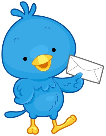 A Little Bird Carrying an Envelope Isolated against White Background Stock Photo - 8027733