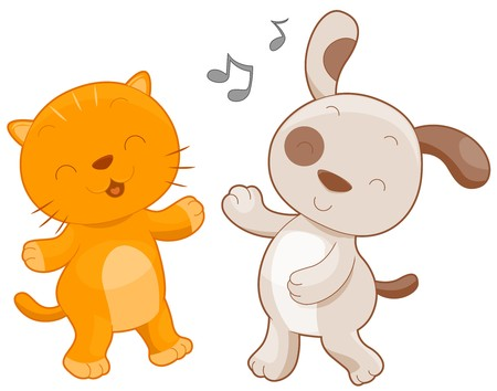 A Chubby Cat and Dog Dancing Together Against White Background photo