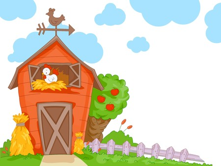 A Cute Barn With a Clear View of the Chicken Nesting Inside for Background photo