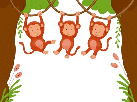 cartoon jungle: Three Monkeys Swinging Among Vines for Background